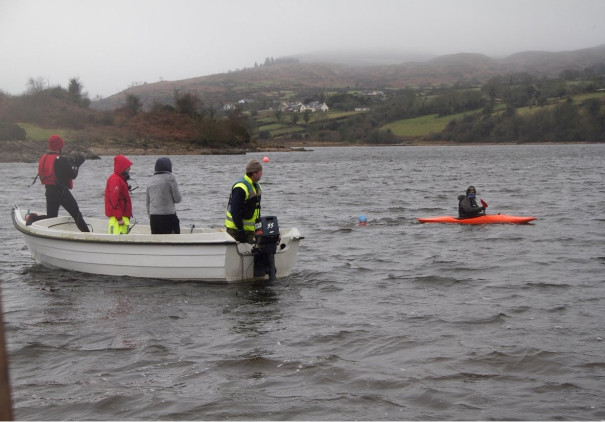 Ice kilometer training at Camlough Lake, Co.Armagh