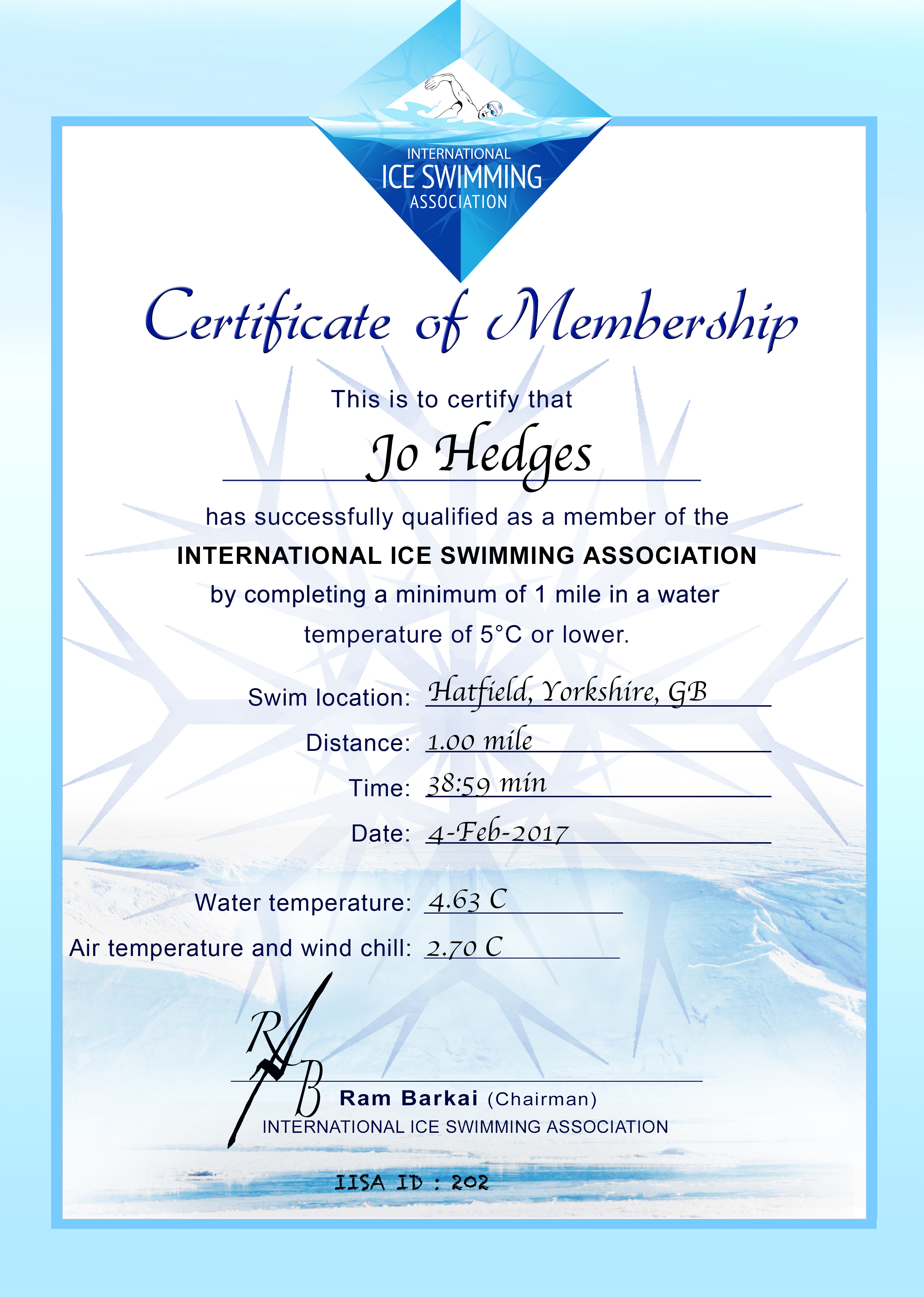 Ice Mile Certificate - Jo Hedges