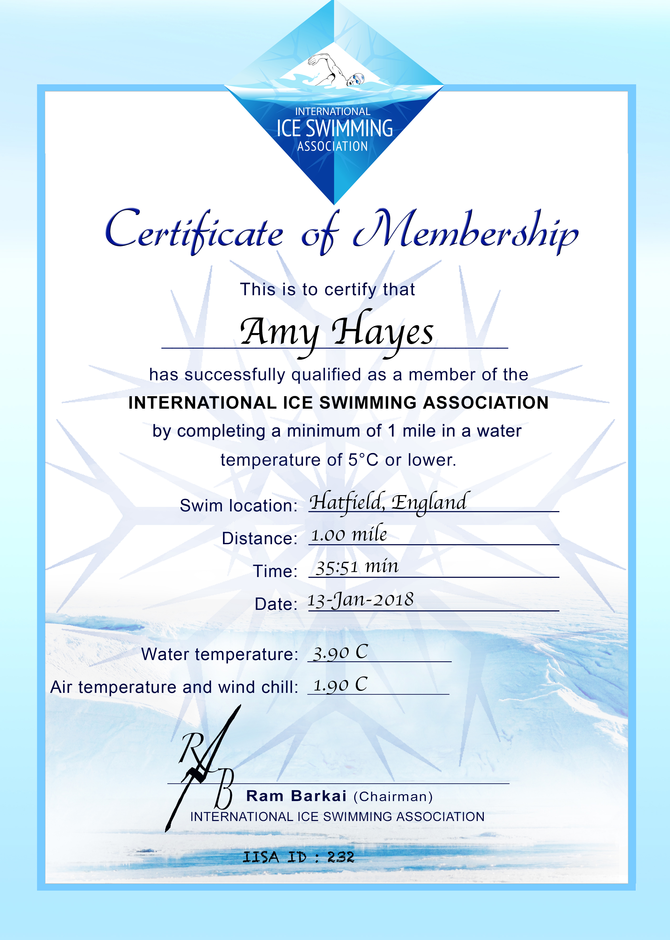 Ice Mile Certificate - Amy Hayes