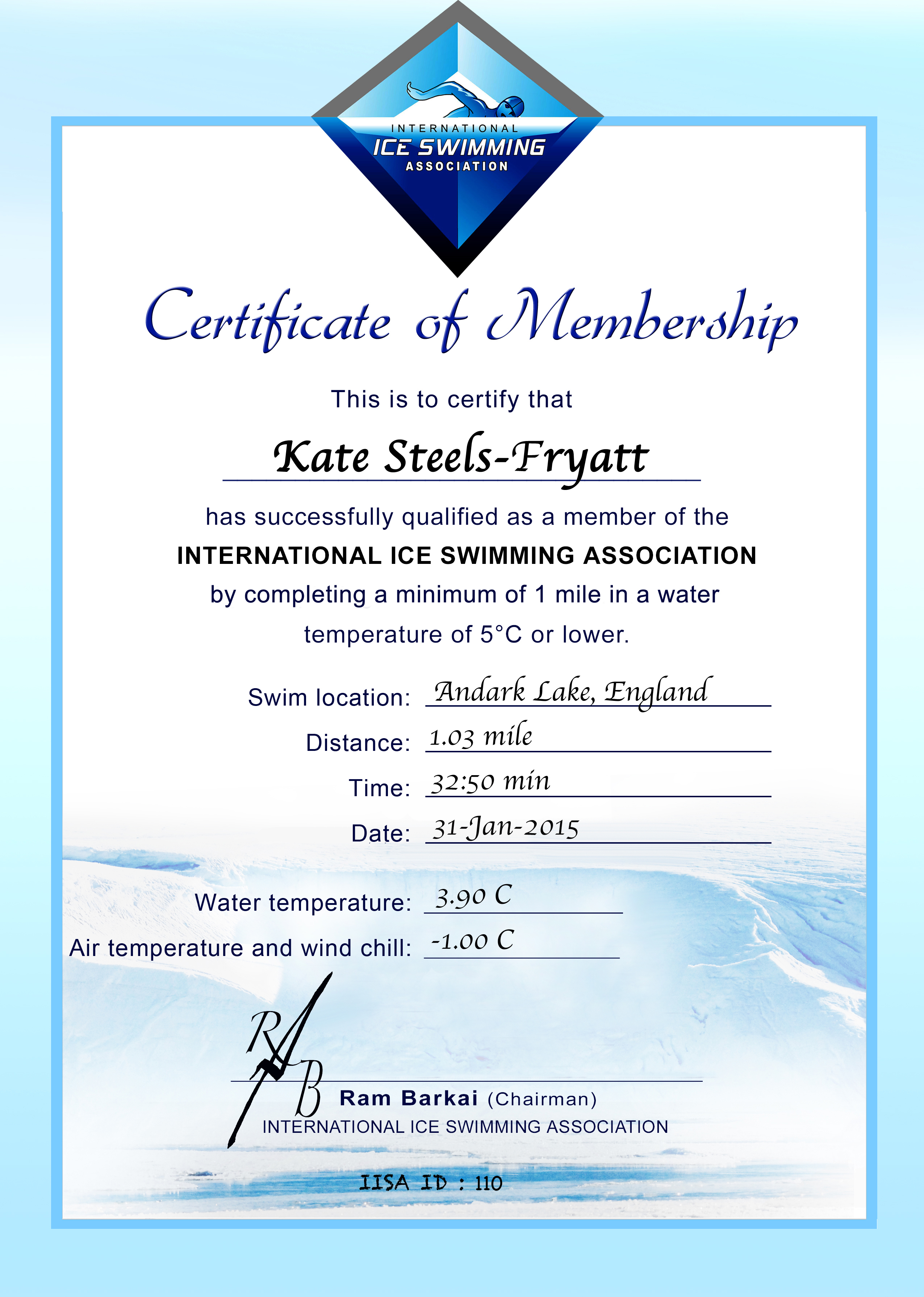 Ice Mile Certificate - Kate Steels