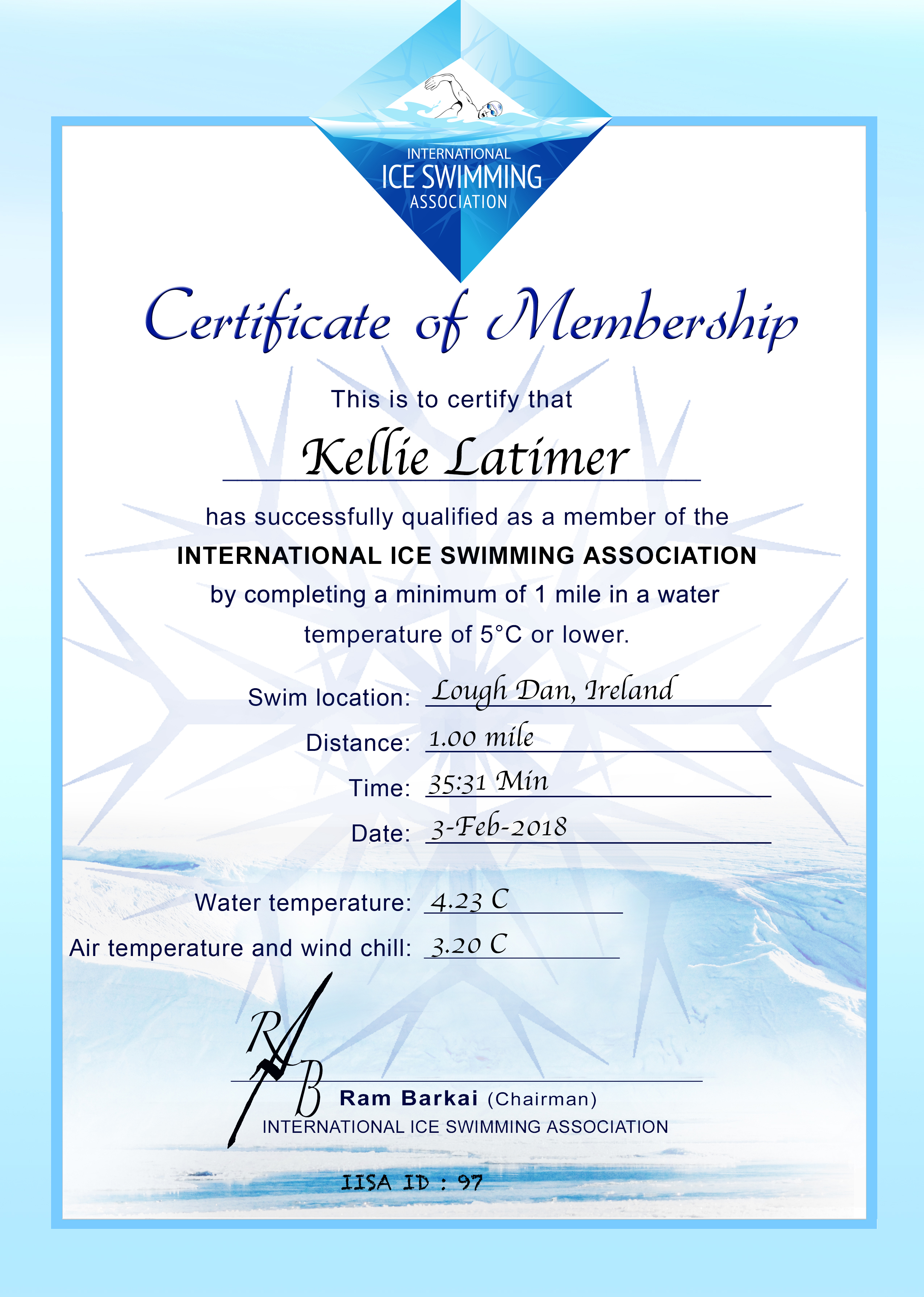 Ice Mile Certificate - Kellie Latimer