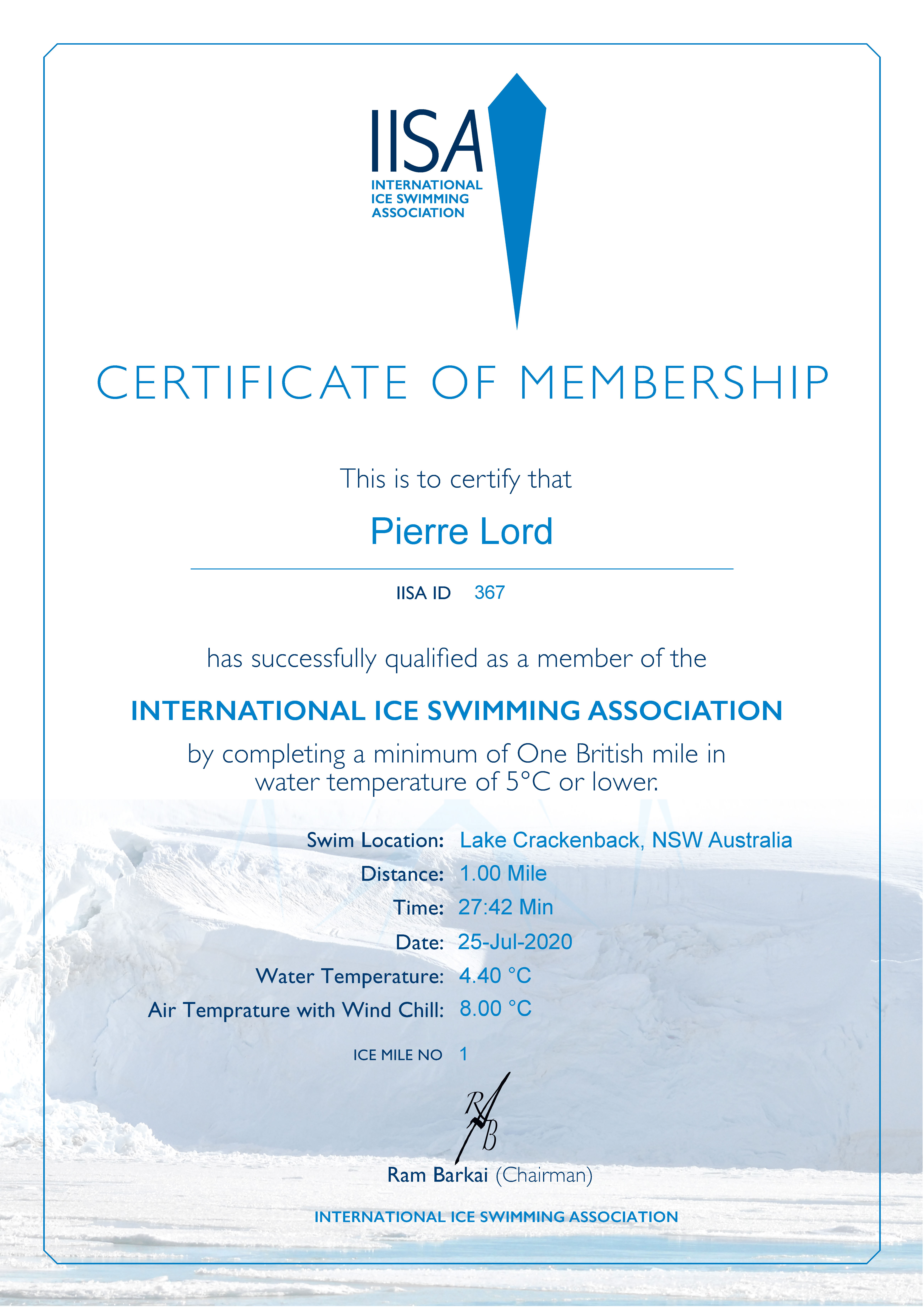 Ice Mile Certificate - Pierre Lord