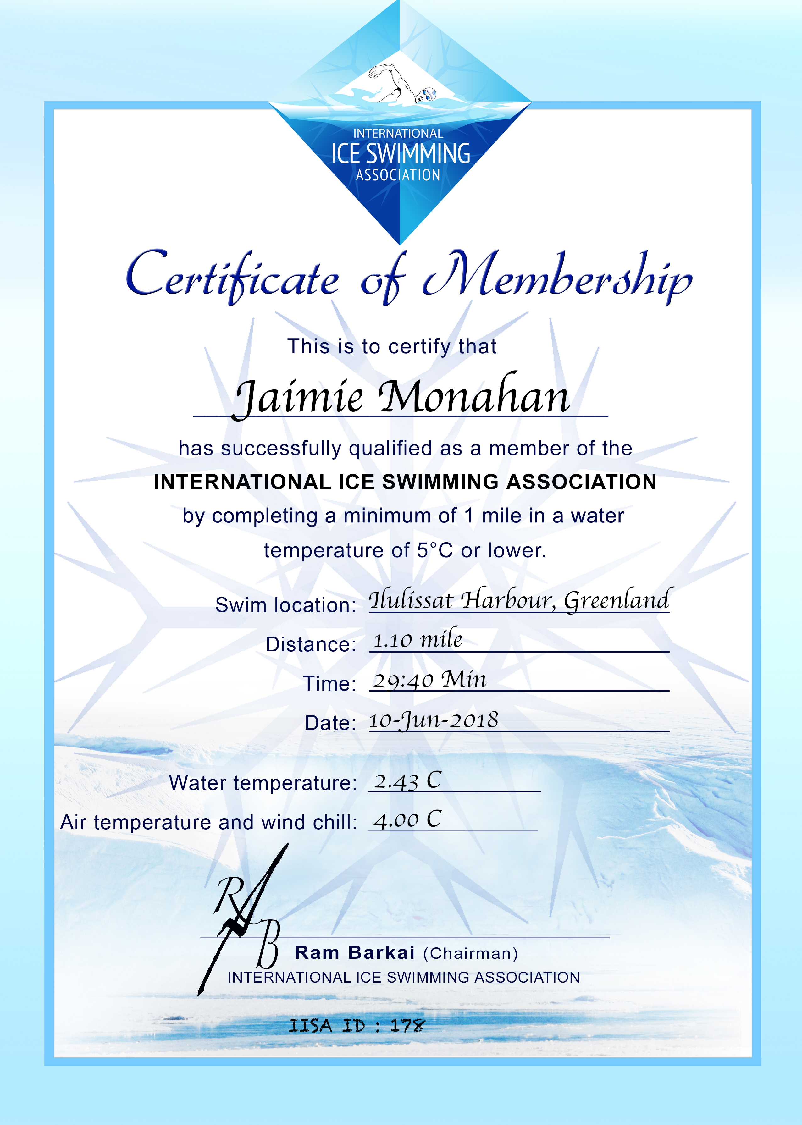 Ice Mile Certificate - Jaimie Monahan