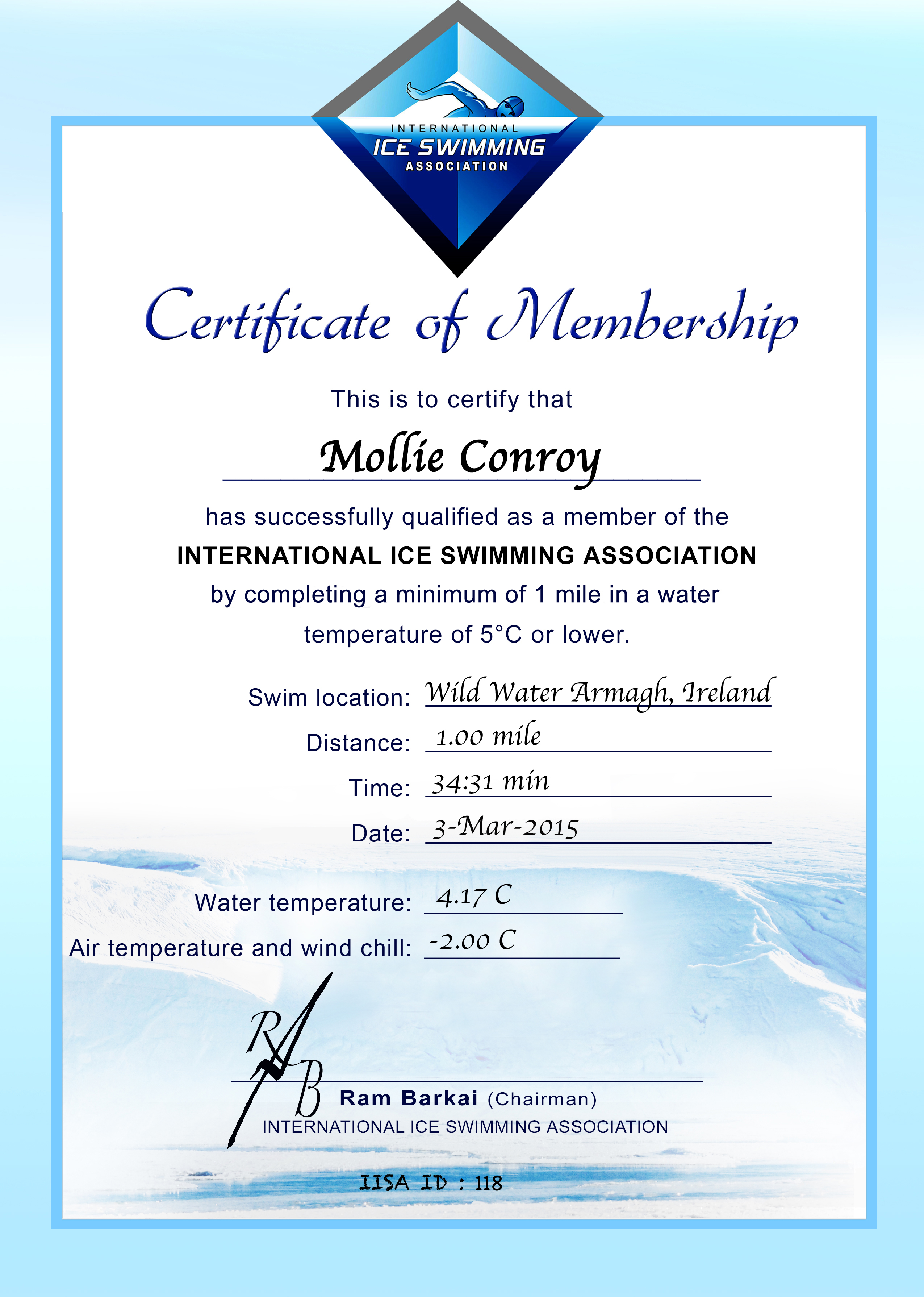 Ice Mile Certificate - Mollie Conroy