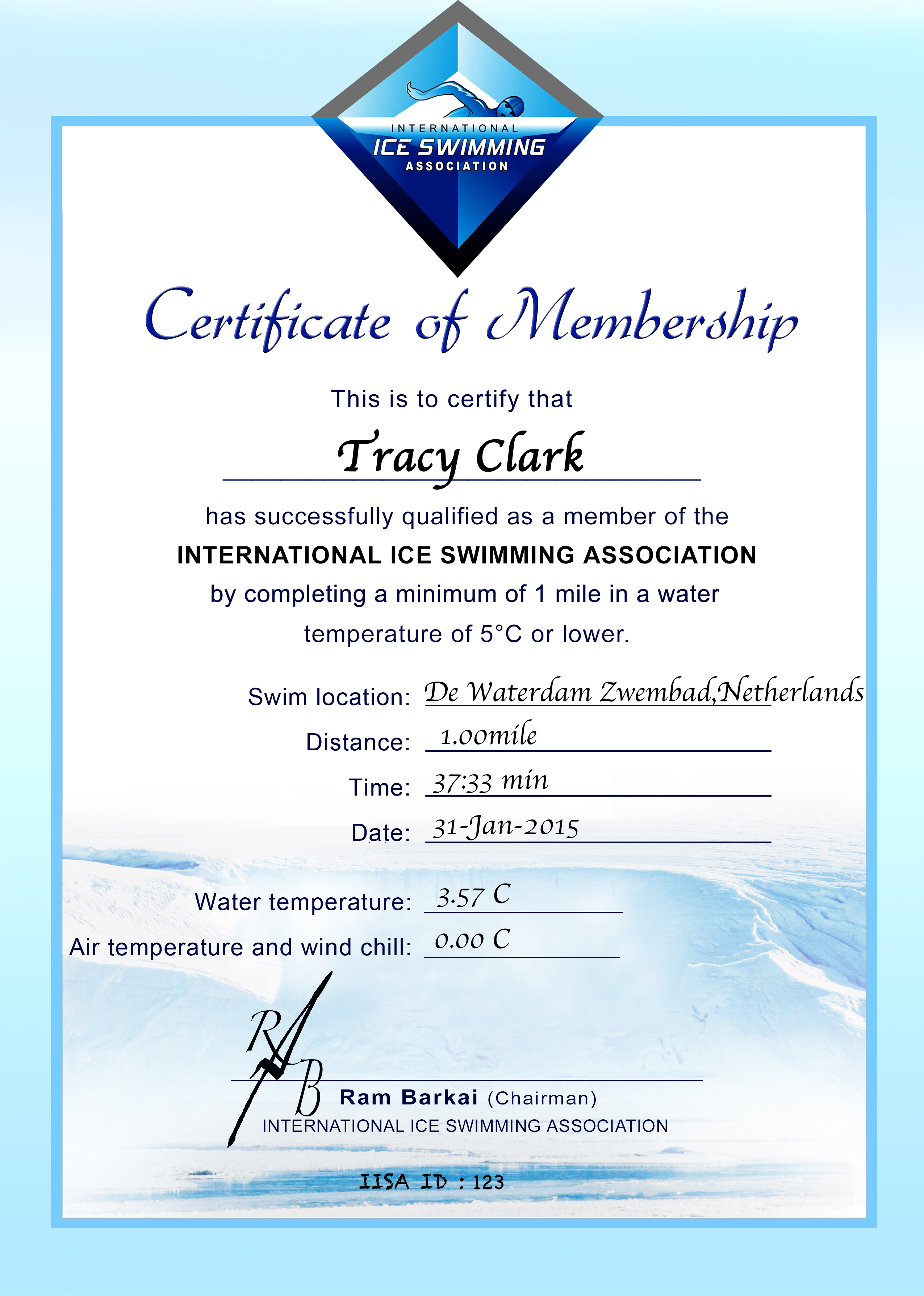 Ice Mile Certificate - Tracy Clark