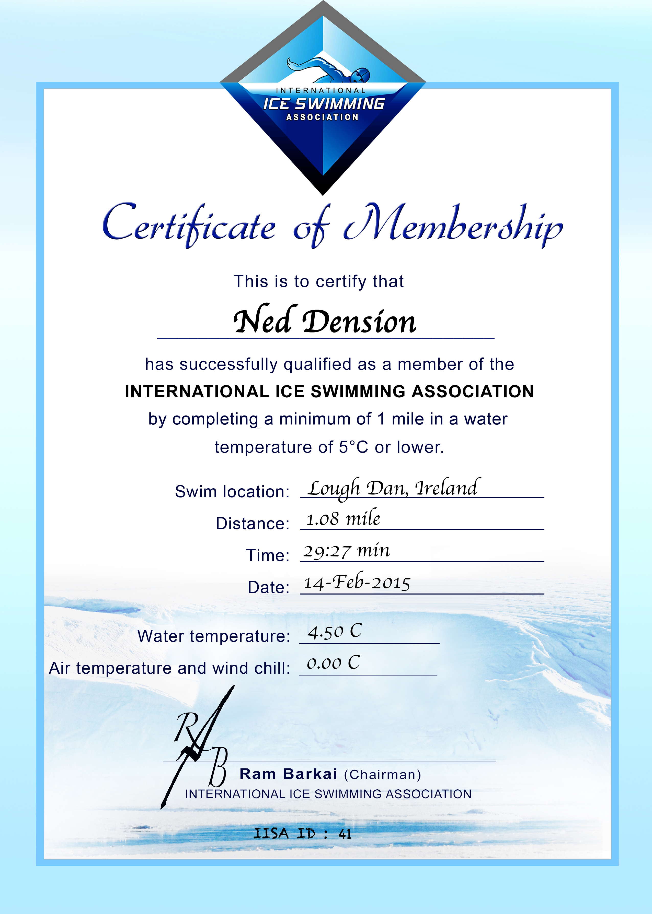 Ice Mile Certificate - Ned Denison