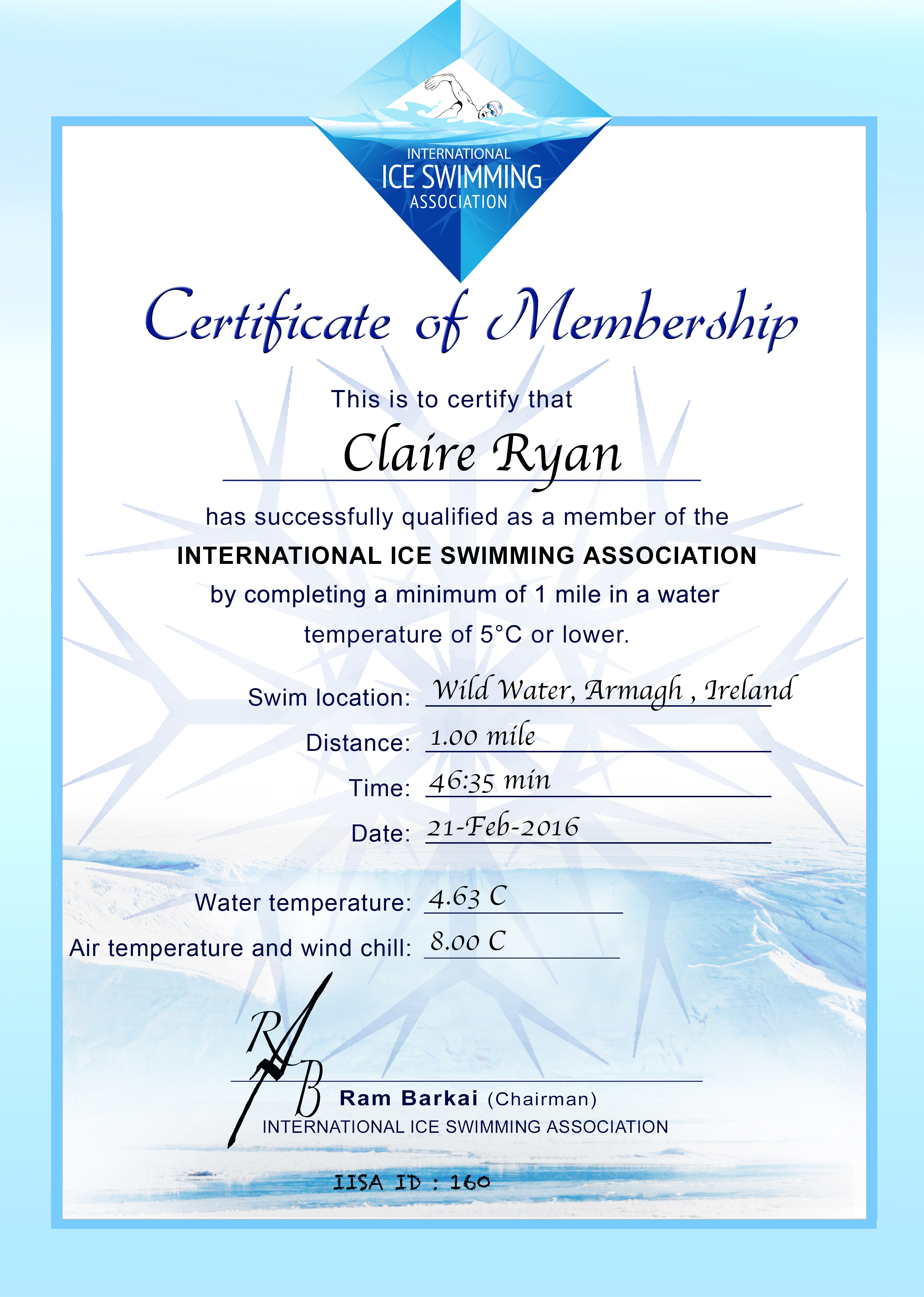 Ice Mile Certificate - Claire Ryan