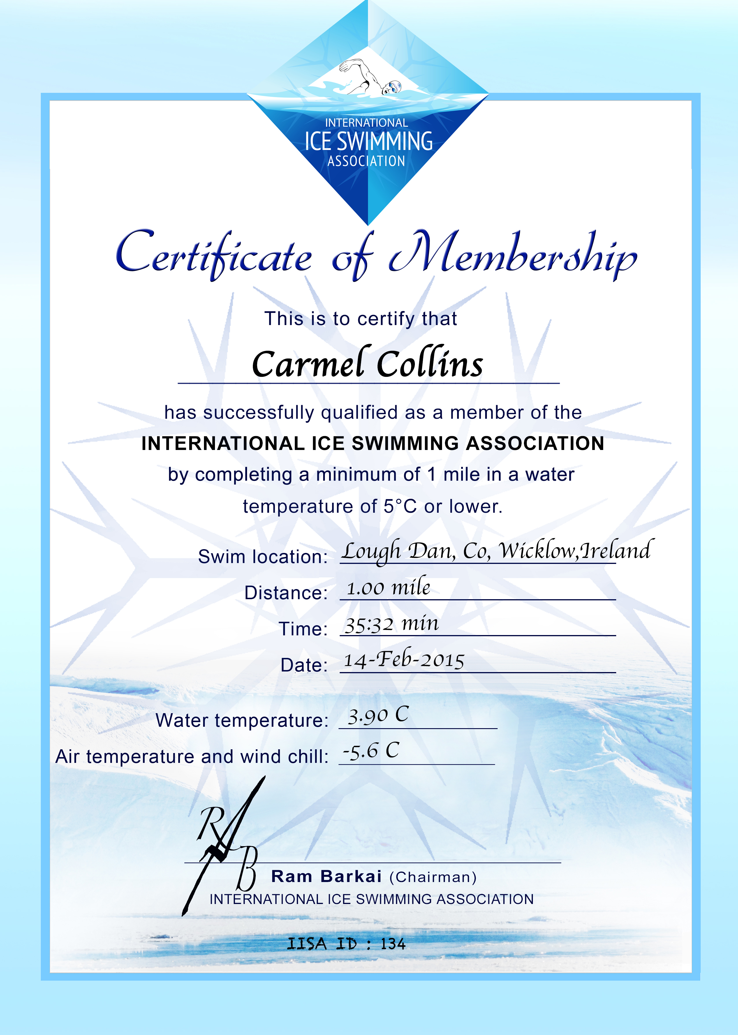 Ice Mile Certificate - Carmel Collins