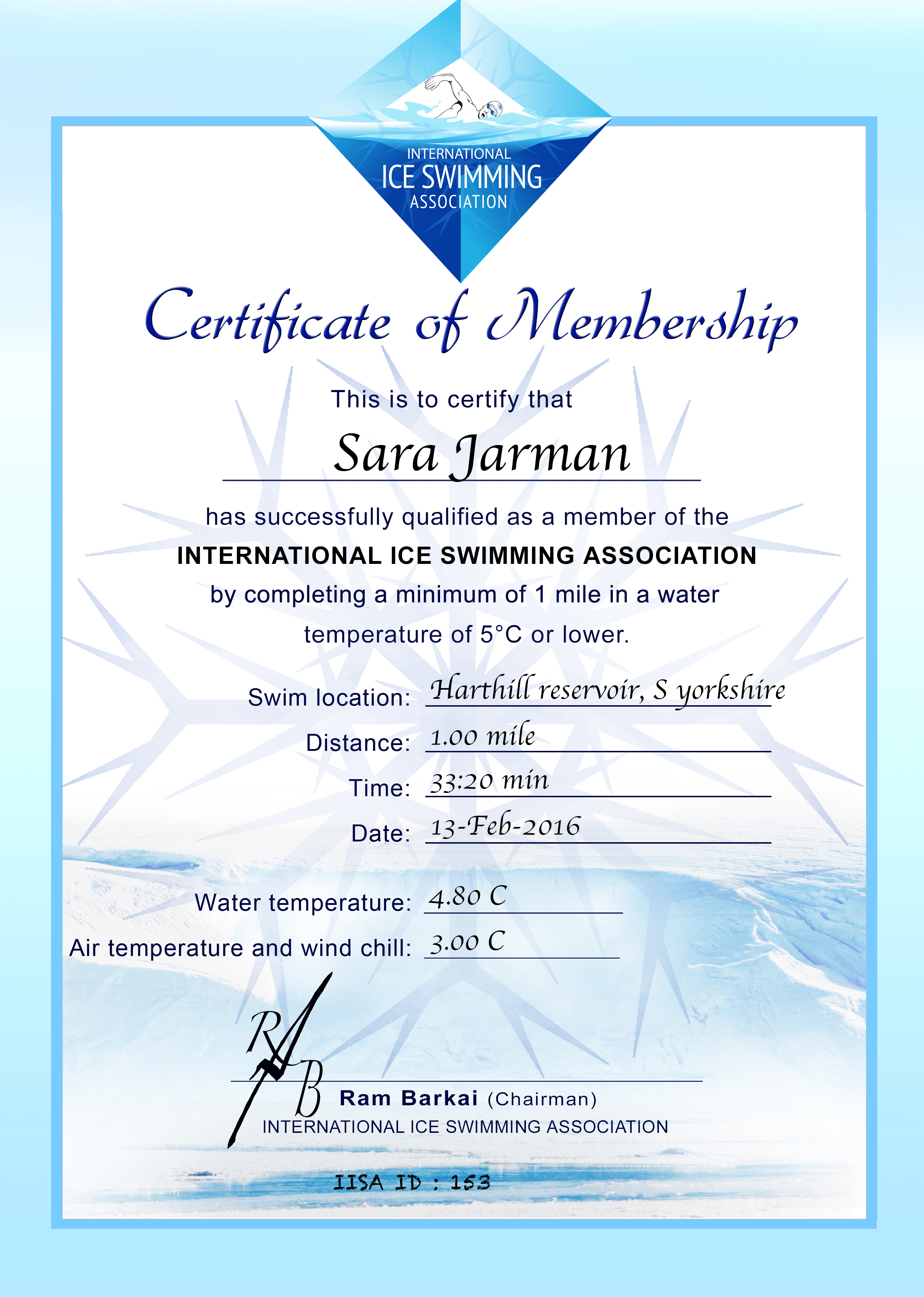 Ice Mile Certificate - Sara Jarman