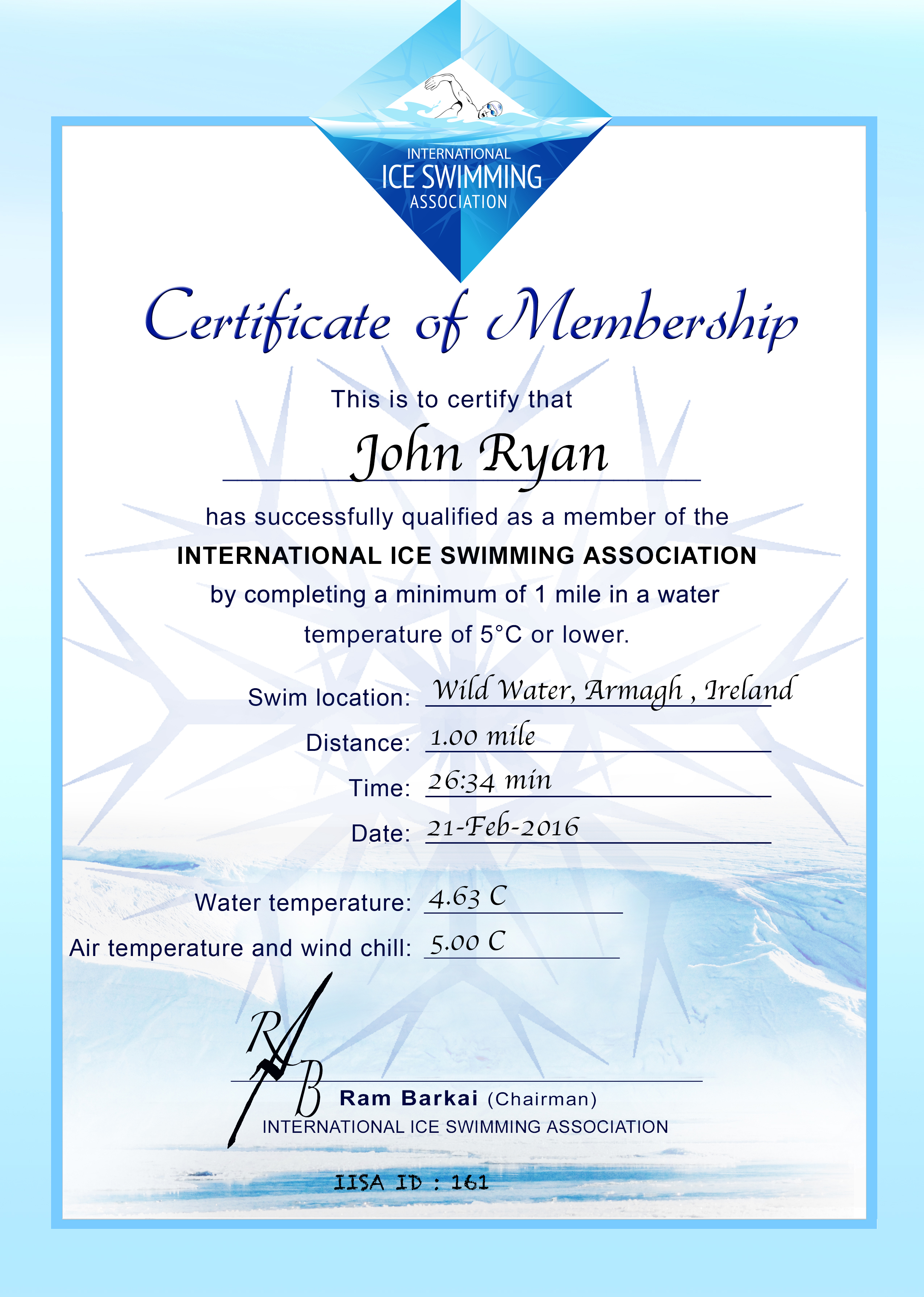 Ice Mile Certificate - john ryan