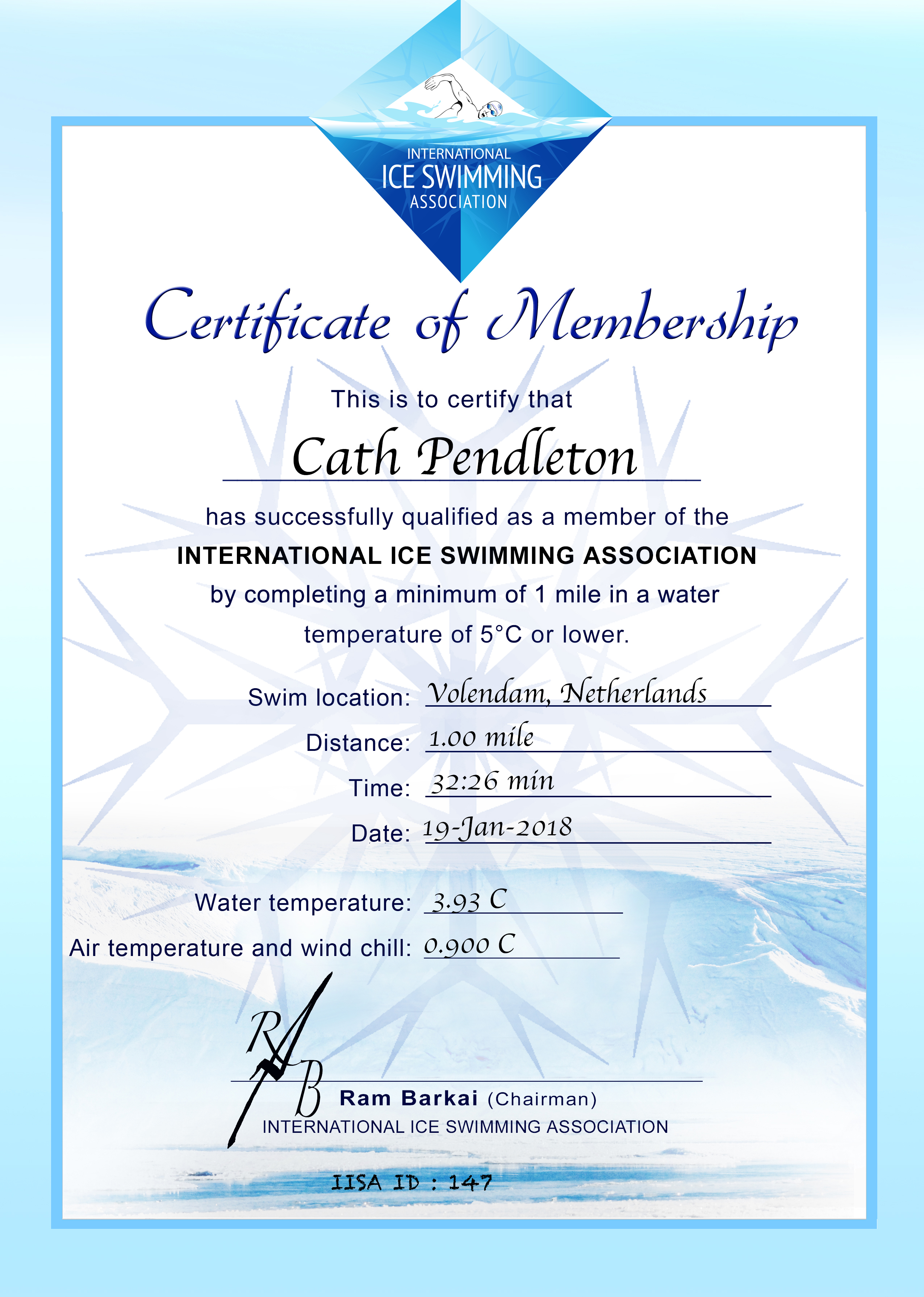 Ice Mile Certificate - Cath Pendleton