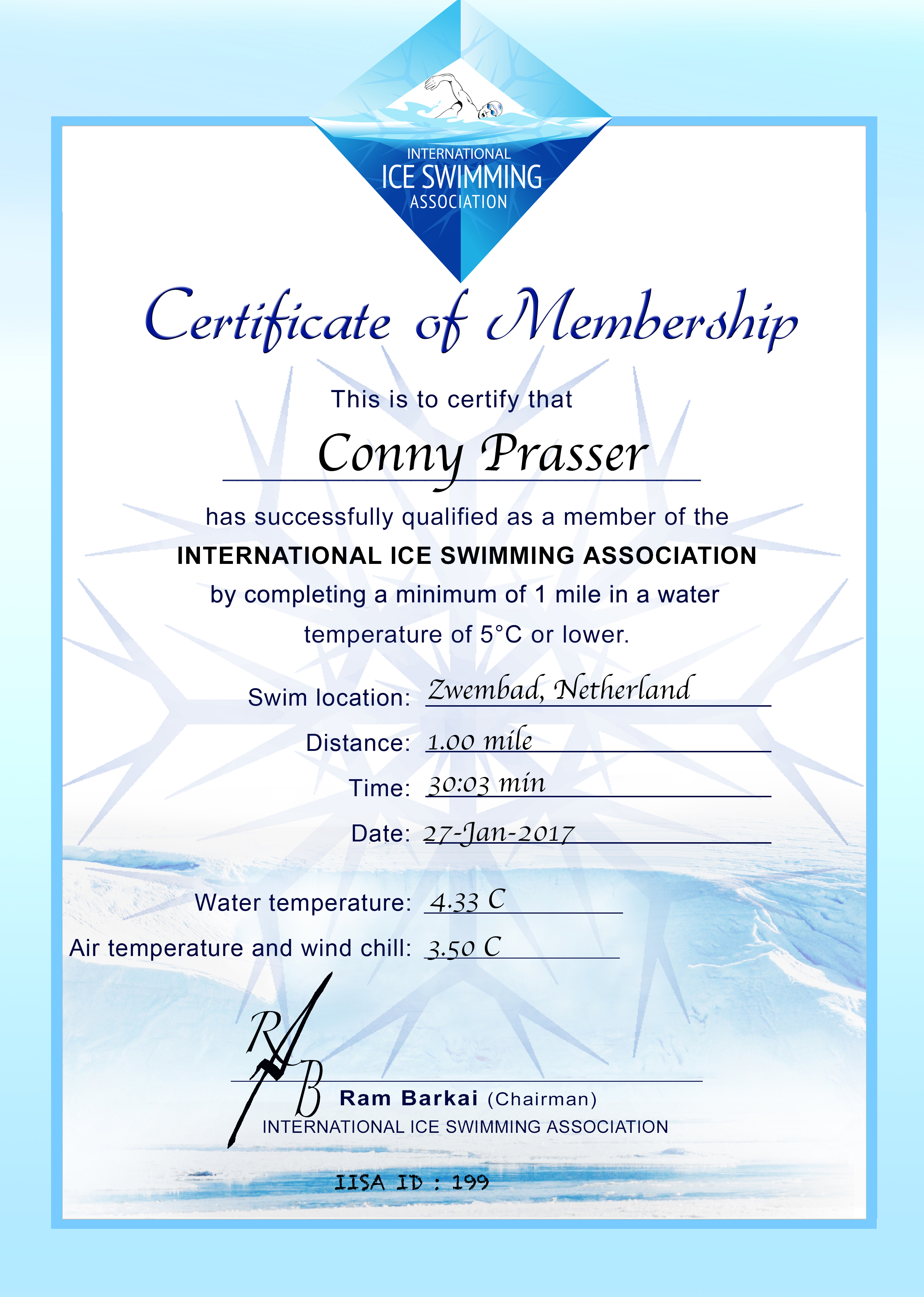 Ice Mile Certificate - Conny Prasser