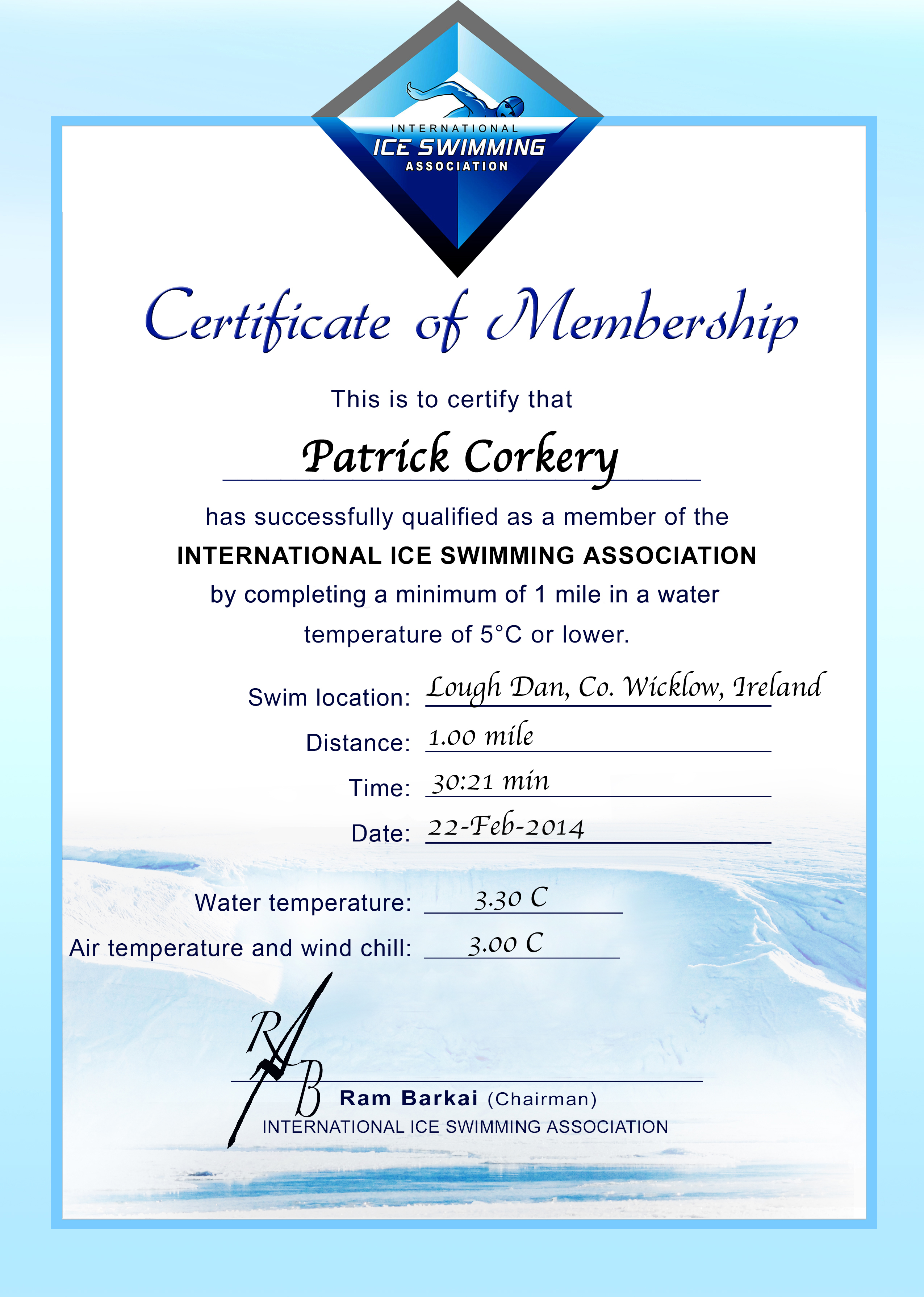Ice Mile Certificate - Patrick Corkery