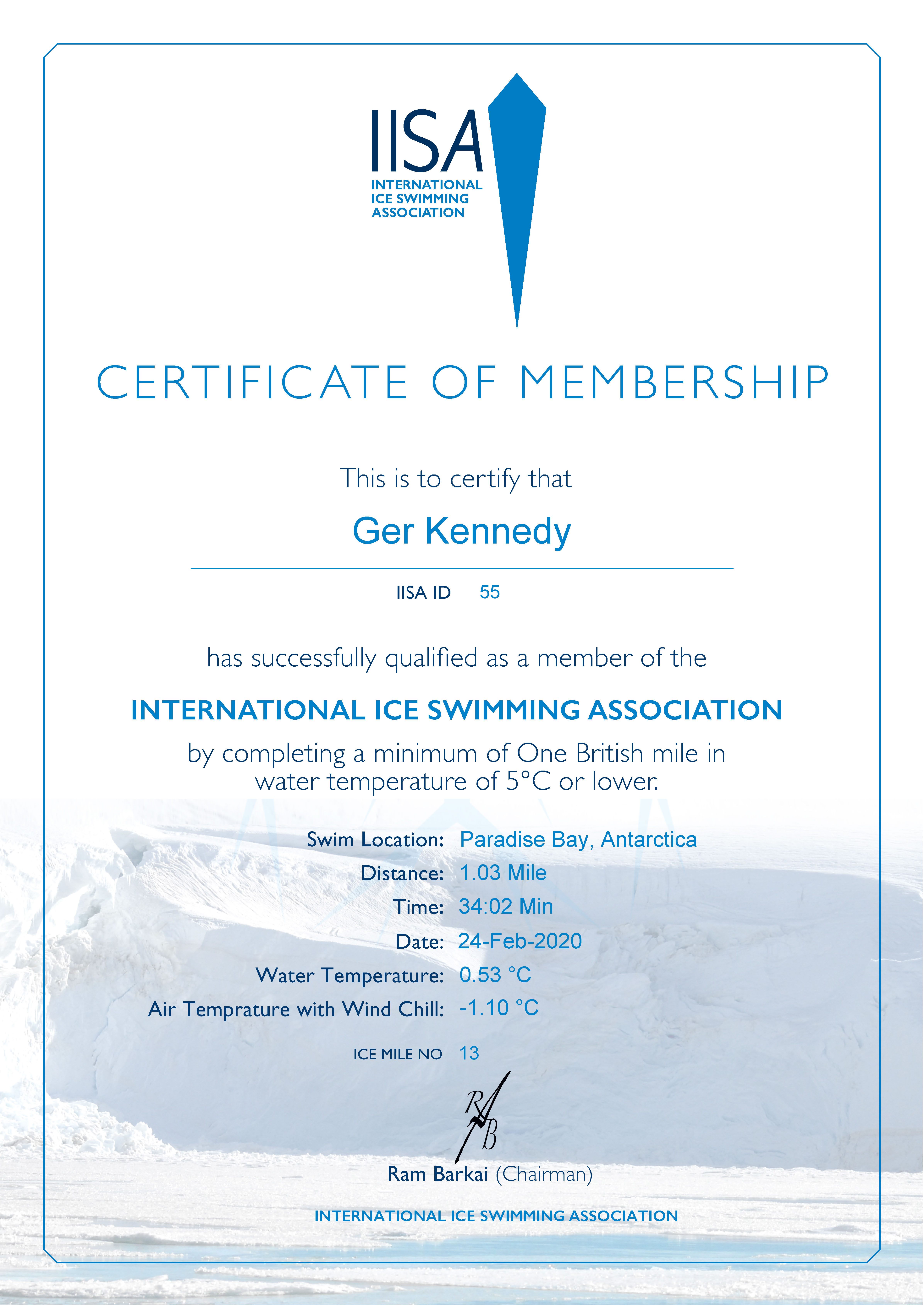 Ice Mile Certificate - Ger Kennedy