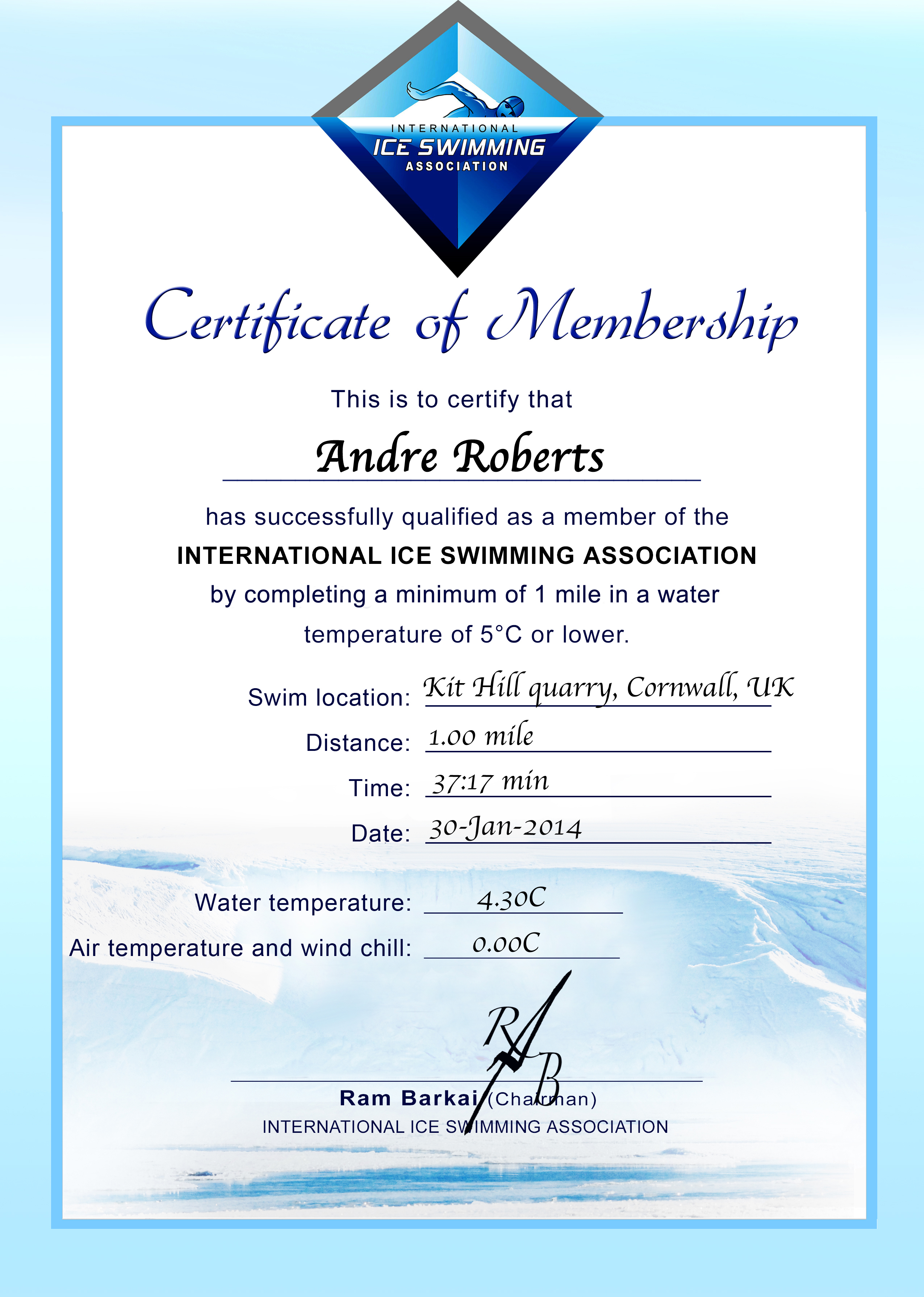 Ice Mile Certificate - Andre Roberts
