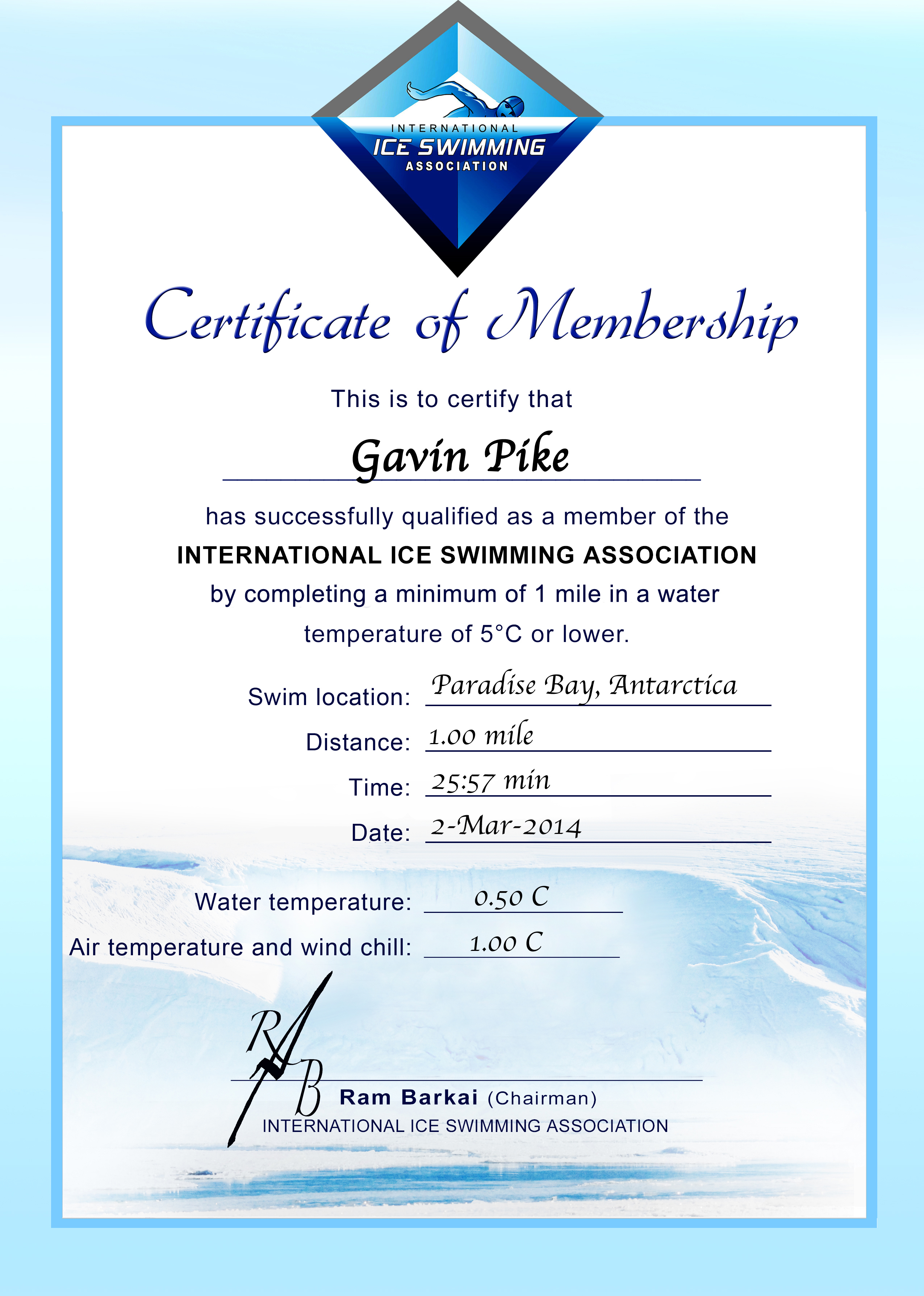 Ice Mile Certificate - Gavin Pike