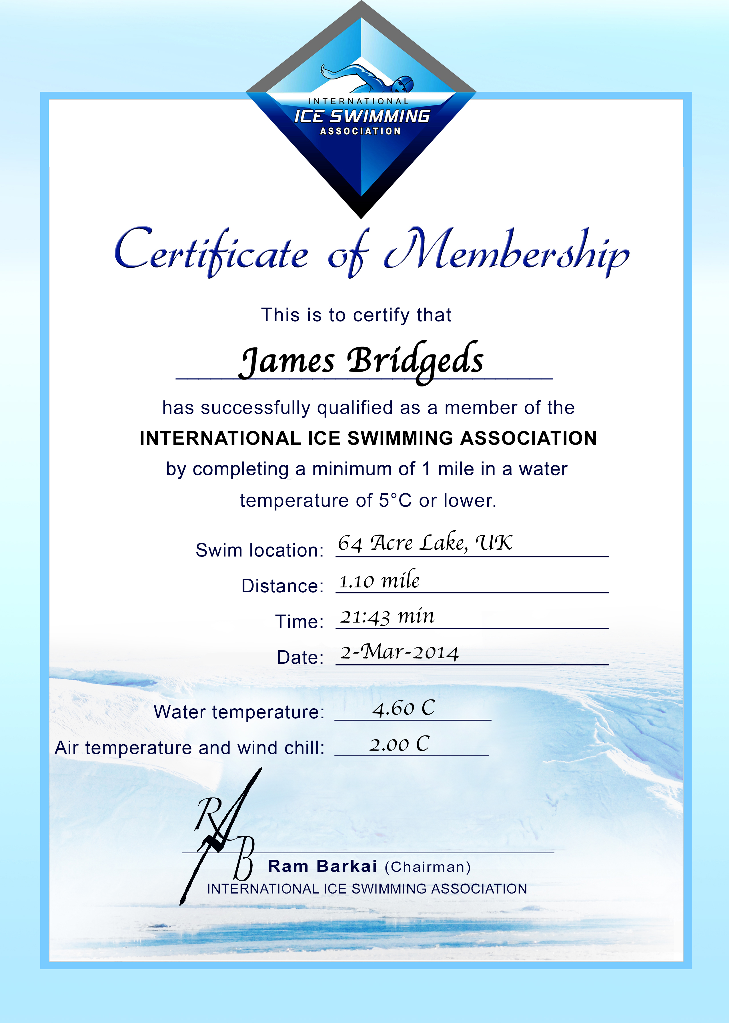 Ice Mile Certificate - James Bridges