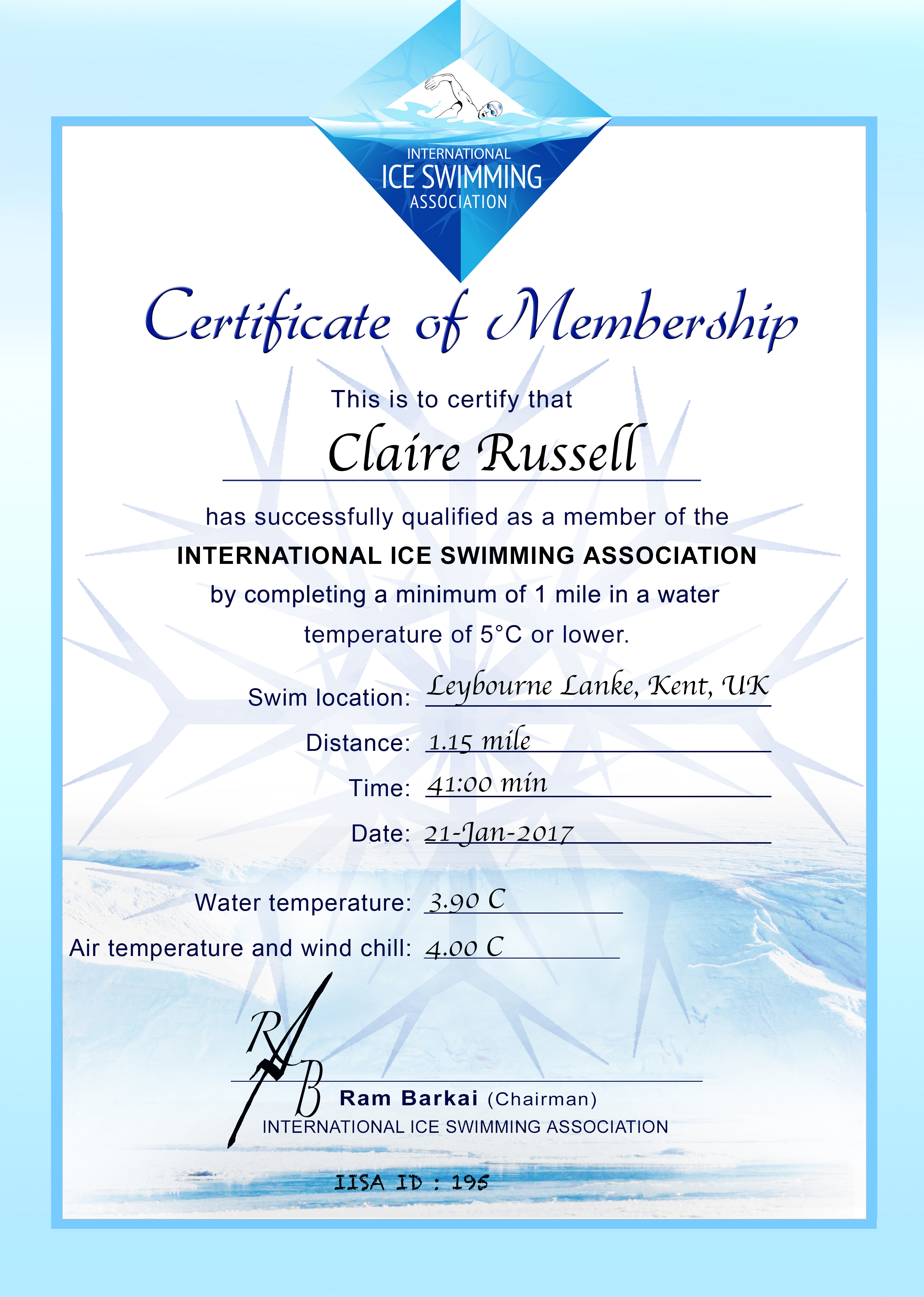 Ice Mile Certificate - Claire Russell