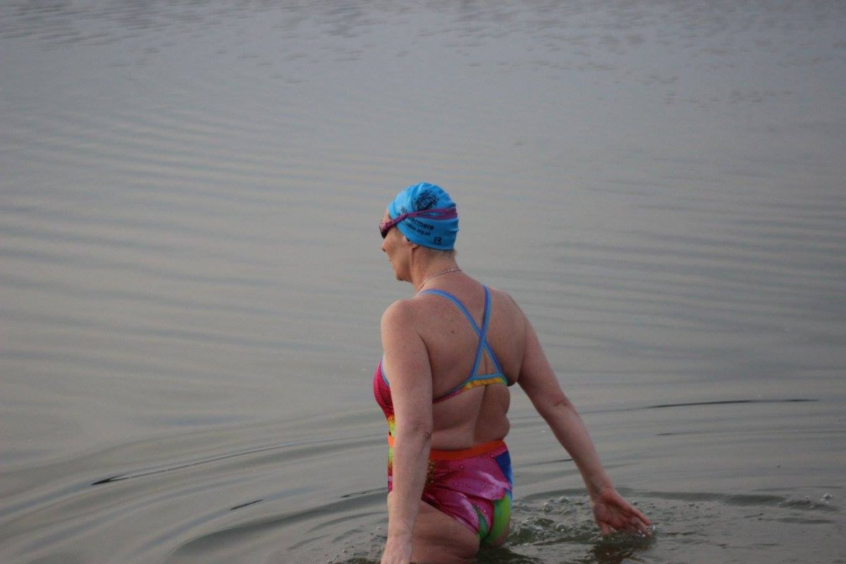 the coldest swim at 2.4 degrees